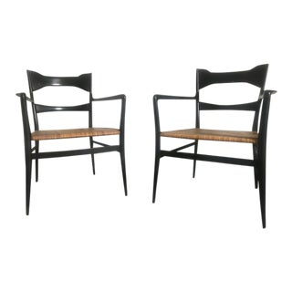1960s Vintage Italian Gio Ponti's Manufacturing Company's Chairs- a Pair For Sale