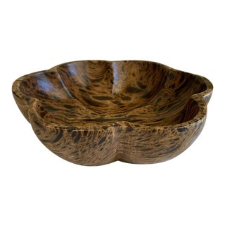 Rustic Earthy Spotted Wood Carved Bowl For Sale