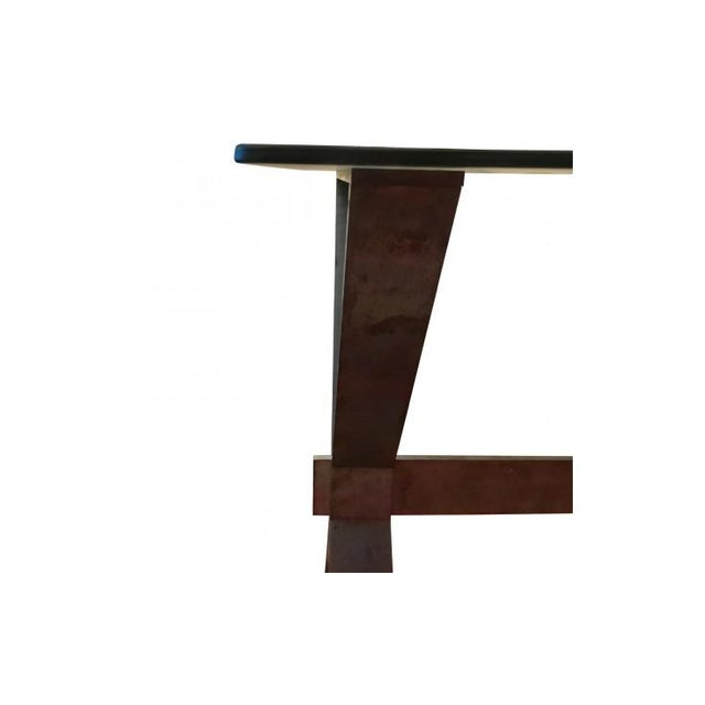 Industrial 20th Century Industrial and Eclectic Smoked Glass and Steel X Base Console For Sale - Image 3 of 7