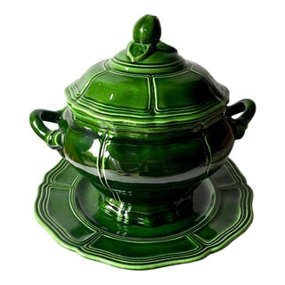 French Country Henriot Quimper Dark Green Faience Lidded Tureen & Under Plate For Sale