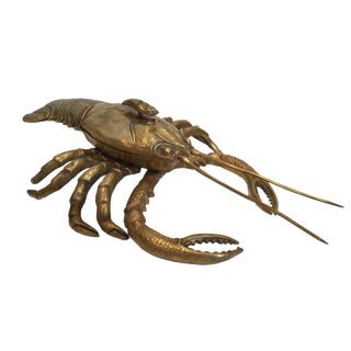 20th Century Figurative Brass Lobster Box For Sale