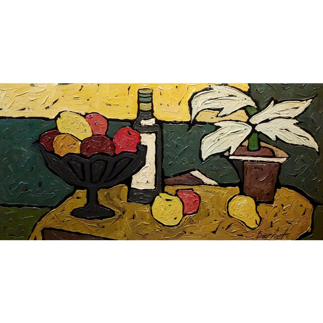 """French """"Still Life of Fruits"""" 1960s French Oil Painting by Bernet For Sale - Image 3 of 10"""