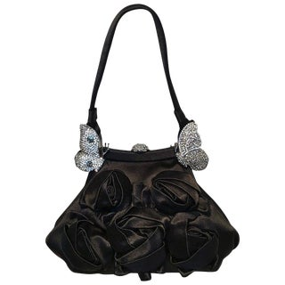 Valentino Black Silk Rose and Swarovski Crystal Butterfly Evening Bag For Sale