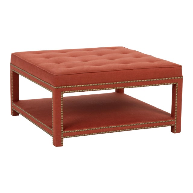 Kensington Ottoman in Paprika Linen For Sale In Los Angeles - Image 6 of 6