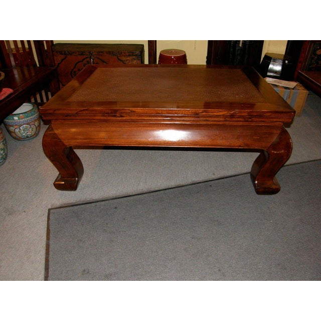Asian 19th Century Chinese Chow Leg Coffee Table with Woven Mat Top For Sale - Image 3 of 8