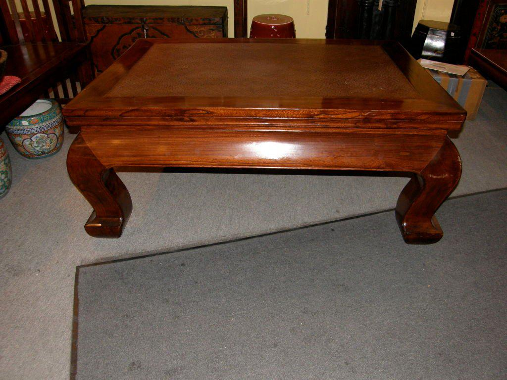 Good 19th Century Chinese Chow Leg Coffee Table With Woven Mat Top   Image 3 Of 8