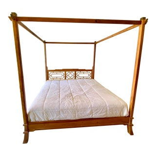 1960s King Size Hand-Carved Solid Wood Canopy Bed For Sale
