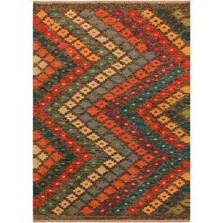 Kilim Arya Arleen Gray/Orange Wool Rug -3'0 X 4'11