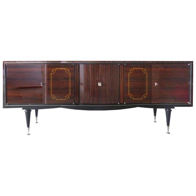 1930s French Art Deco Macassar and Ebony Credenza with Bar Compartment For Sale - Image 11 of 11