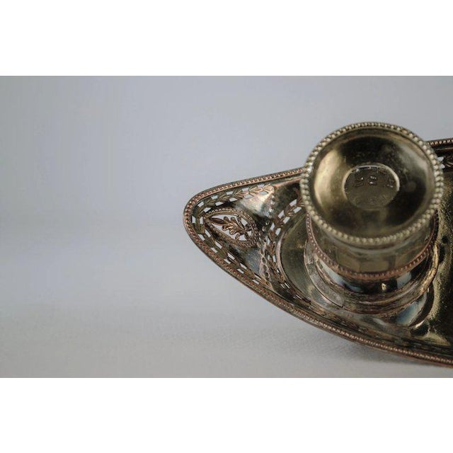Silver Double Inkwell with Pen Brush For Sale - Image 9 of 11