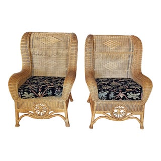 1980s Ralph Lauren Wicker Armchairs - a Pair For Sale