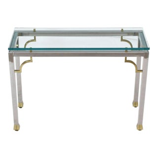 Chrome Brass Thick Glass Top Console Sofa Table For Sale