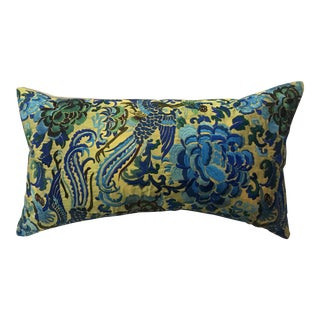 Hollywood Regency Silk Turquoise Embroidered Chinoiserie Boudoir Pillow For Sale