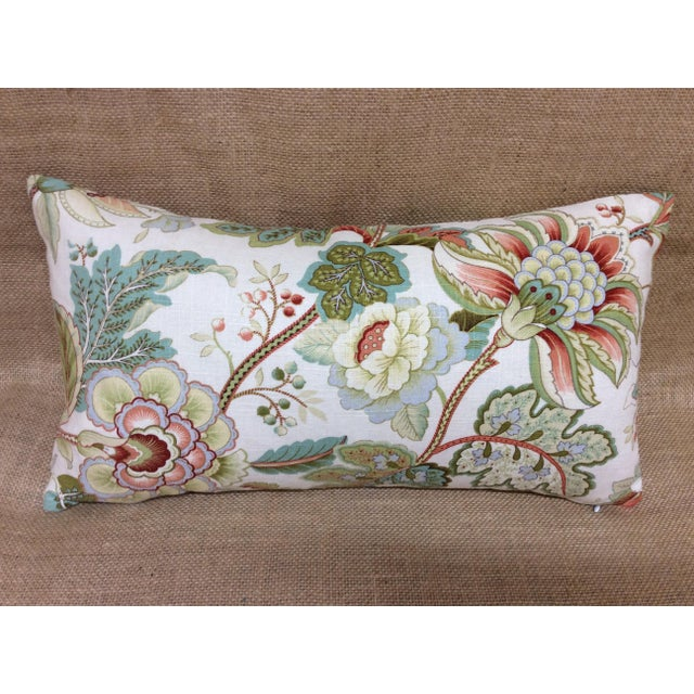 Green Contemporary Floral Linen Pillow For Sale - Image 8 of 8