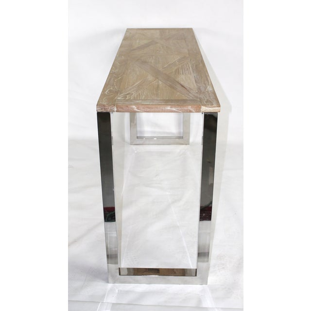 Modern Chrome and Wood Midcentury Inspired Console - Image 4 of 4