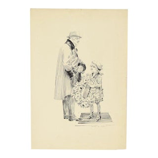 Circa 1910 Ink Drawing Wealthy Man Buying Christmas Wreath From Little Girl Michigan Artist For Sale