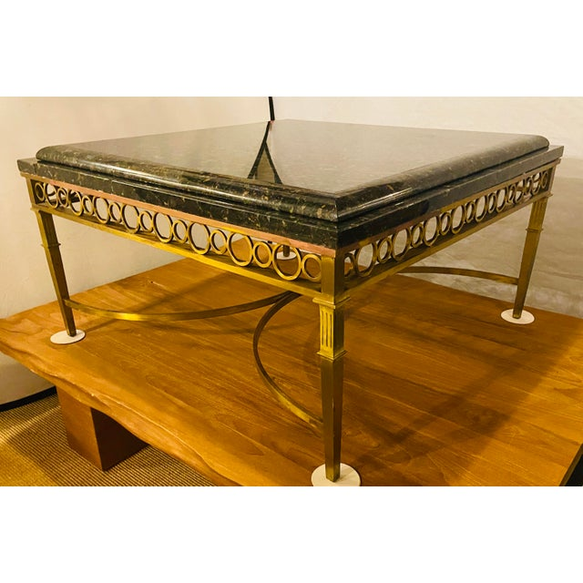 Hollywood Regency Granite Top on Brass Base Center Table For Sale - Image 10 of 13