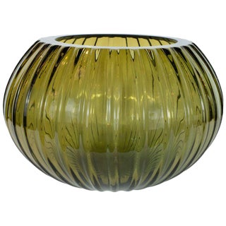 Modernist Hand Blown Murano Ribbed Smoked Emerald Glass Decorative Bowl For Sale