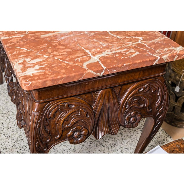 Chippendale Irish Chippendale Style Oak Table with Marble Top For Sale - Image 3 of 9