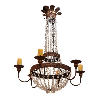 19th Century Style Chandelier with Candle-Cupped Hidden Sockets For Sale