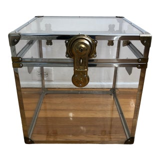 Mid-Century Modern Brass and Chrome Lucite Acrylic Cabinet For Sale
