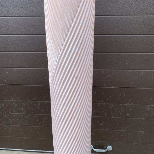 1980s Pink Reeded Plaster Floor Lamp For Sale - Image 12 of 13