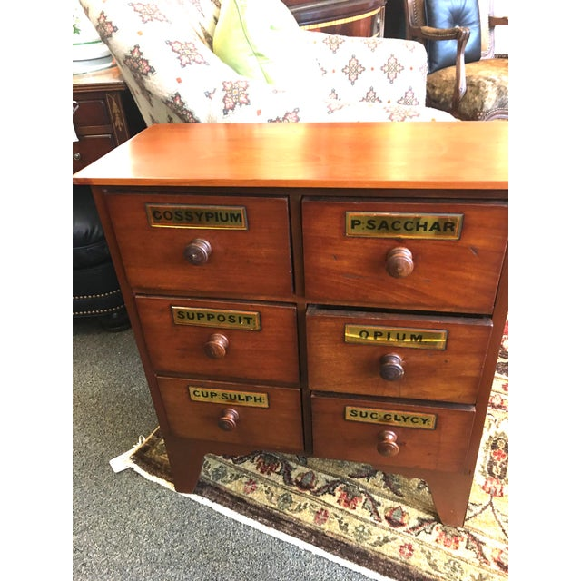 Pair of English Antique Cherry Apothecary Chests with Mirrored Labels (3 slight cracks). Chests are not an exact match.