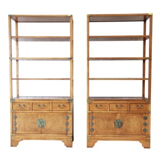 Michael Taylor for Baker Far East Collection Burl Wood Wall Units, Pair For Sale