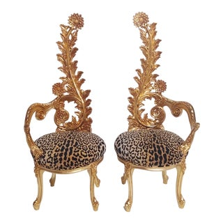 Italian Design Sunflower Throne Chairs in Leopard Velvet and Gold- A Pair For Sale