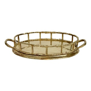 Vintage Small Faux Bamboo Brass Tray For Sale