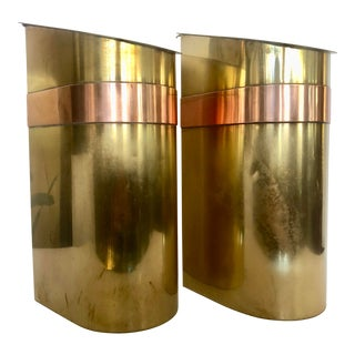 Pair Brass/Copper Containers by Sarried For Sale