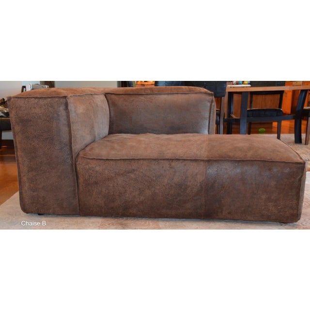 Leather Modern Restoration Hardware Distressed Leather Sectional For Sale - Image 7 of 11