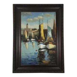 Mediterranean Harbor Scene Oil Painting, Framed For Sale
