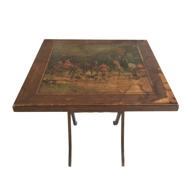 Vintage Riding Scene Card Table - Image 1 of 4