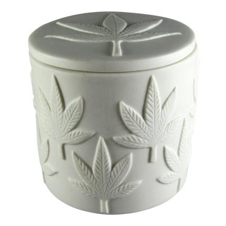 Jonathan Adler Embossed Marijuana Leaf Design Jar For Sale