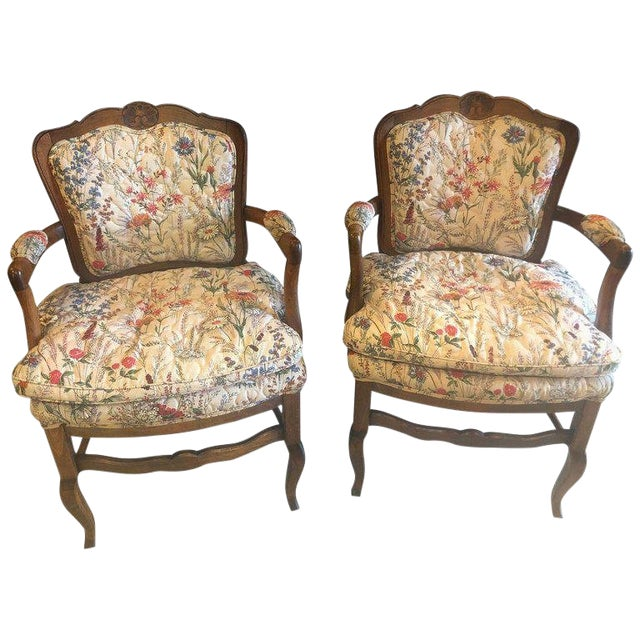 Country French Boudoir Fauteuil Louis XV Chairs in Quilted Like Upholstery, Pair For Sale