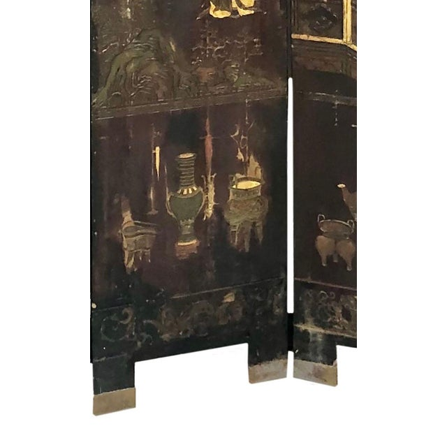 Early 19th Century Chinese Black Wooden Screen/Room Divider For Sale In Tampa - Image 6 of 7