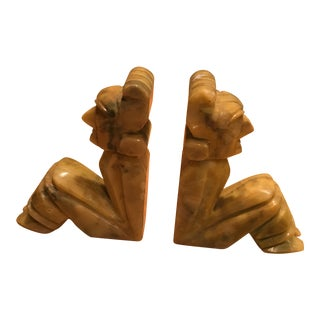 Natural Stone Aztec Men Bookends - a Pair For Sale