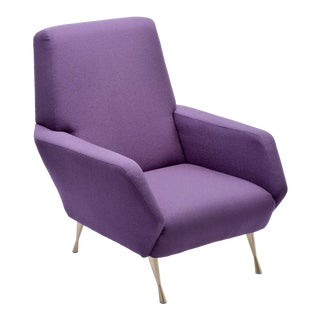 Upcycled Italian Purple Lounge Chair, 1950s For Sale