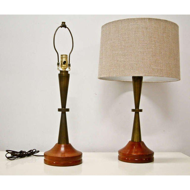 Bronze and Primavera Finish Wood Base Lamps - A Pair For Sale - Image 4 of 8
