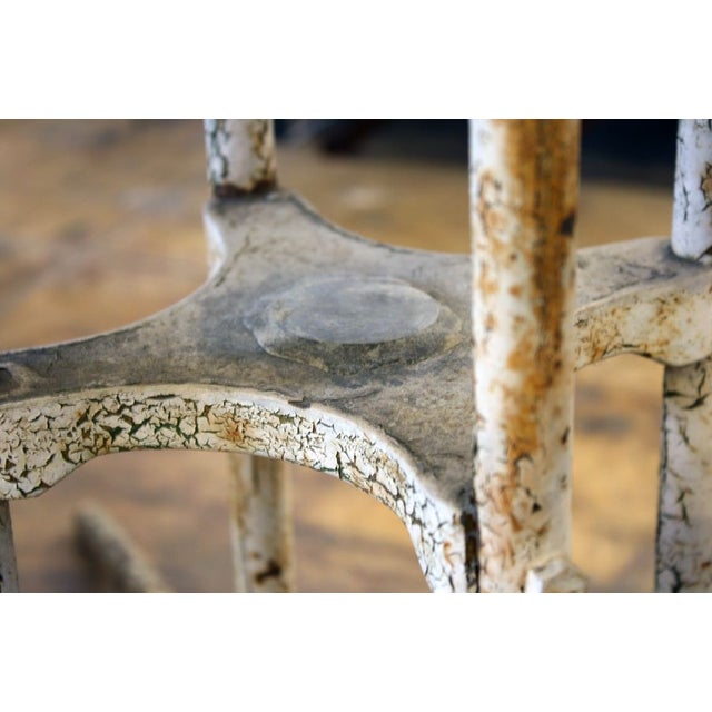 Shabby Chic Aged Outdoor Metal Table For Sale - Image 3 of 3