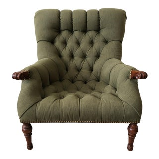 Stickley Leopold's Chair Tufted Green Upholstery With Nailhead Detail For Sale