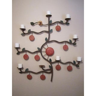 Vintage Aged Metal Tree Candleholder Wall Sculpture Preview