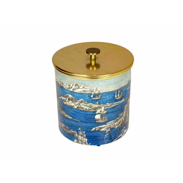 Illustration Piero Fornasetti - Ice Bucket in Lacquered Metal and Aluminium For Sale - Image 3 of 5