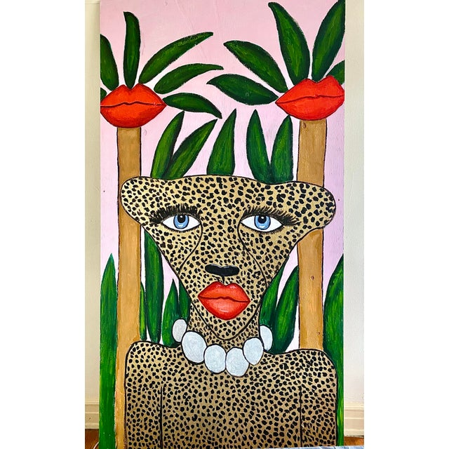 Wood Cheetah in the Jungle Mural For Sale - Image 7 of 7