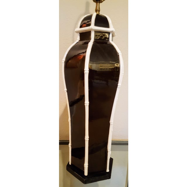 C. 1980 Chapman Ginger Jar Lamp With Faux Bamboo Piping For Sale - Image 7 of 7