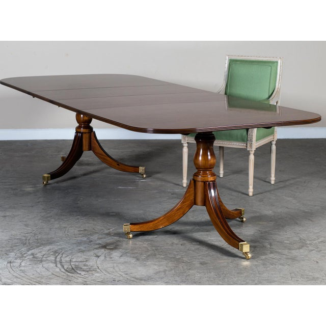 Burl Walnut Sheraton Style Double Pedestal Dining Table, Two Leaves, Hand Made in England - Image 10 of 11