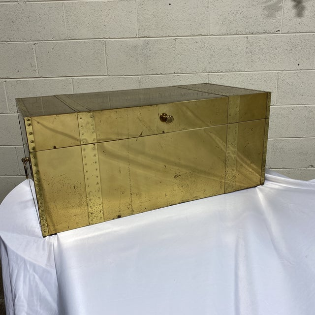 Mid-Century Modern Vintage Brass Trunk For Sale - Image 3 of 13