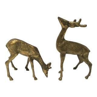 Vintage Brass Deer Figurines - Pair For Sale