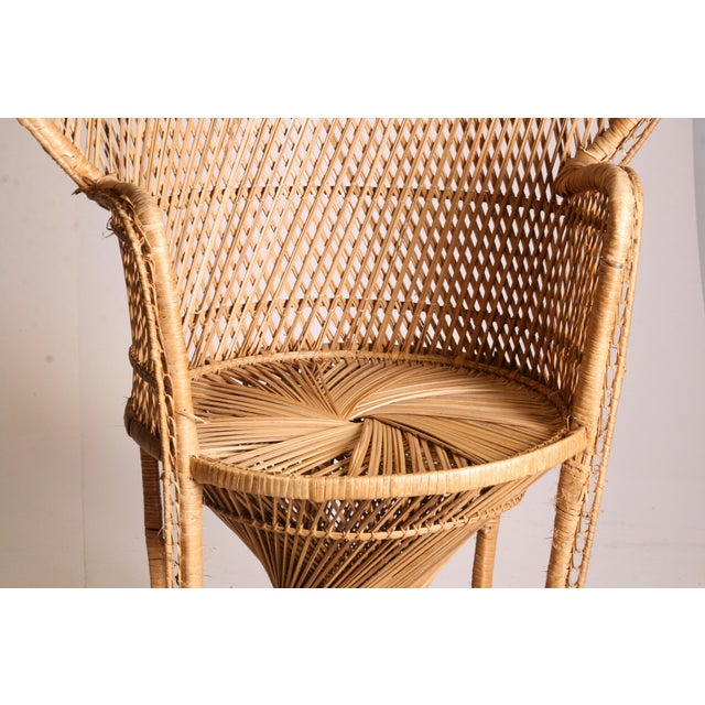 Wicker Vintage Boho Chic Wicker Peacock Chair For Sale - Image 7 of 11